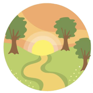 Icon representing Save the Maitai Group showing a setting sun, footpath and trees.
